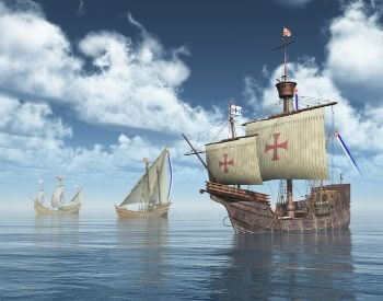 3D illustrative of Christopher Columbus's ships. Marie, Pinta and Santa Maria