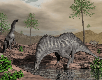 A picture of a Amargasaurus drinking some water