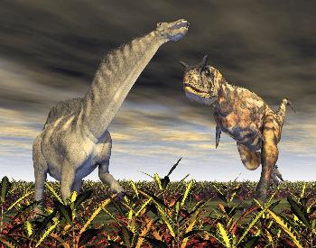 A picture of a Amargasaurus near a big predator