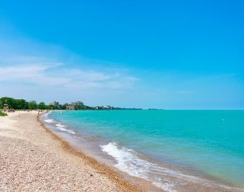 A picture of a beach along Lake Michigan