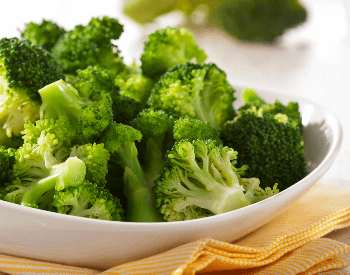 A picture of a bowl that contains steamed broccoli