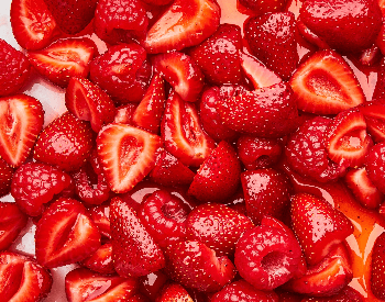 A picture of cut up strawberries