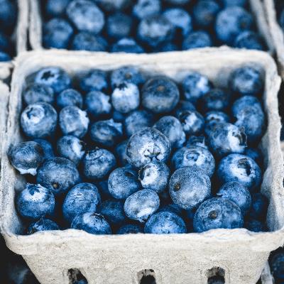 A bushel of blueberries
