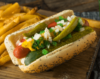 A picture of a Chicago style dog