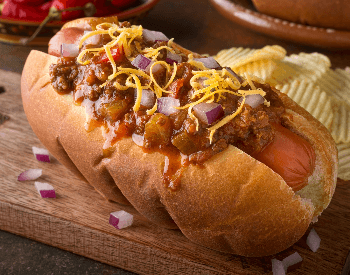 A picture of a chili cheese dog
