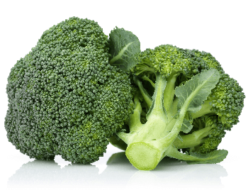 A close-up picture of a broccoli crown