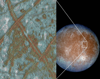 A photo of Europa with a really nice close-up view of the surface.