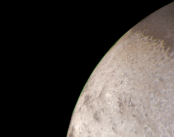 A colorful photo of Triton's limb by Voyager 2.