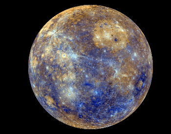 A colorful picture of the planet Mercury from the Messenger probe in 2008.