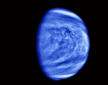 A blue colorized photo of Venus to enhance the view of its clouds.