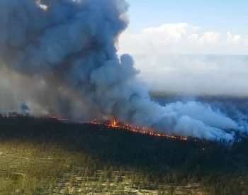 A picture of a big forest fire buring out of control