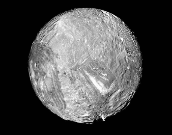 A picture of a complete view of the Miranda moon