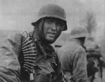 A picture of a German solider at the Ardennes Offensive in 1944