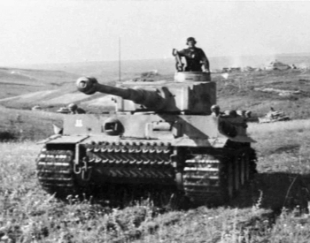 A photo of a German Tiger Tank at the Battle of Kursk