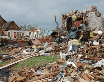A picture of a home that was completed destroyed by the 2011 Joplin Tornado