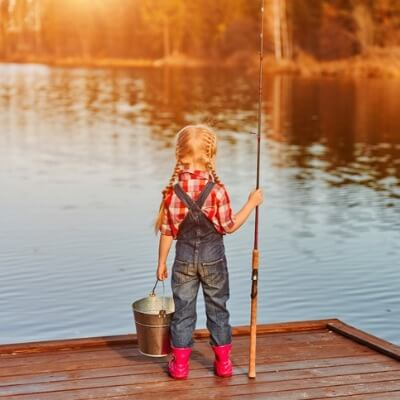 A little girl fishing