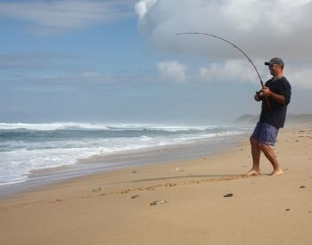 A picture of a man catching a fish while surf fishing