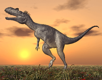 A picture of a Megalosaurus near the sunset