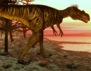 A picture of a Megalosaurus near the ocean