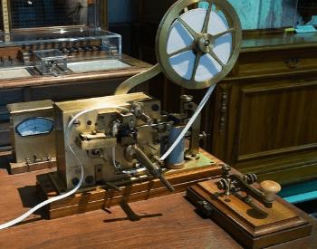 A picture of a refurbished morse code telegraph machine