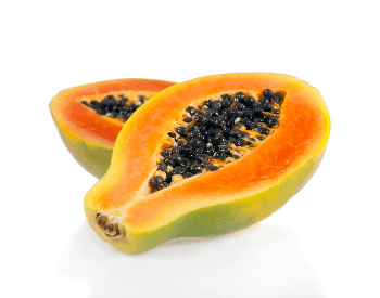 A picture of a papaya cut in half