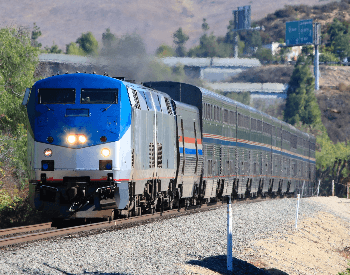 A picture of a Amtrak passanger train