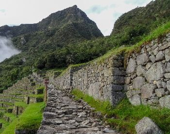 A picture of a stone path and buildings at Machu Picchu
