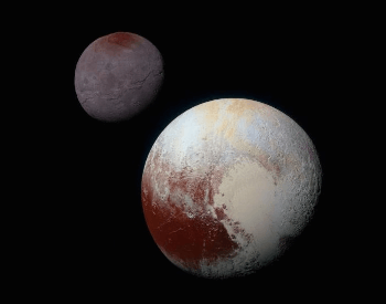 A photo comparing the planet Pluto and its moon.