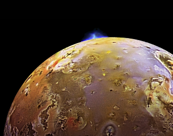 A photo of a volcanic eruption on Io.