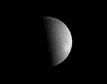 A photo of Dione taken by the NASA Cassini spacecraft.