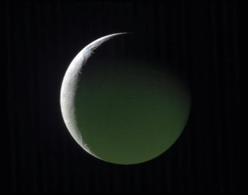 A photo of Enceladus taken by the Cassini spacecraft.