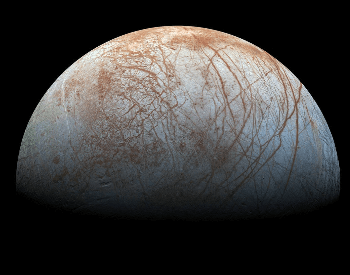 A photo of Europa taken by NASA's Galileo spacecraft in the late 1990s.
