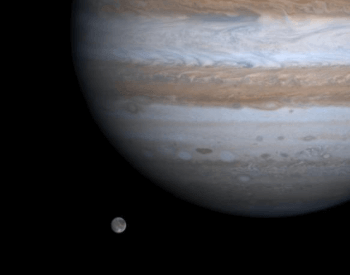 A beautiful picture of Ganymede in orbit around the planet Jupiter.