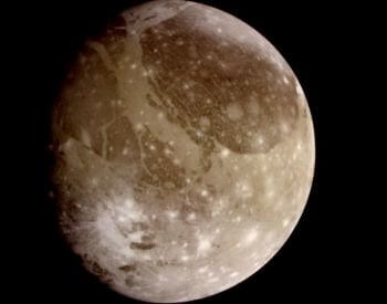A photo of Jupiter's moon Ganymede, taken by the Galieo Spacecraft.