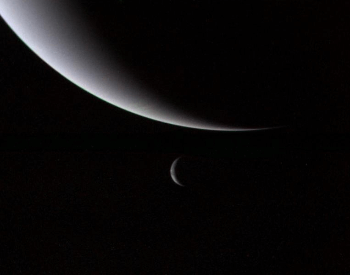 A photo of Neptune and Triton taken by the Voyager 2 spacecraft.