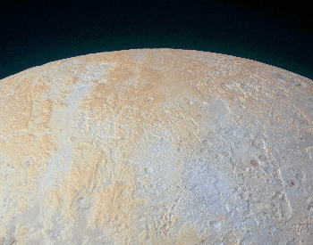 A photo of the frozen canyons of Pluto's north pole, taken by NASA.