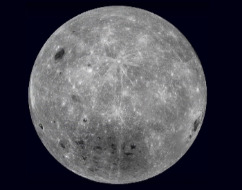 A photo of the far side of the Earth's moon.