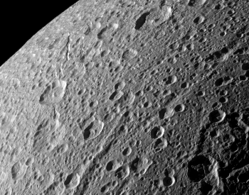 A beautiful photo of the surface of Saturn's moon Dione.