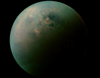A photo of titan taken by the NASA spacecraft Cassini.