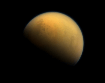A stunning photo of Titan through its hazy atmosphere.