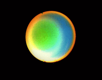An enhanced photo of Uranus to help show its atmosphere.