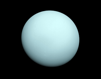 A photo of Uranus taken by the Voyager 2 spacecraft on 1-14-1986.