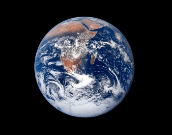 A picture of the planet Earth taken during the 1972 Apollo 17 mission.