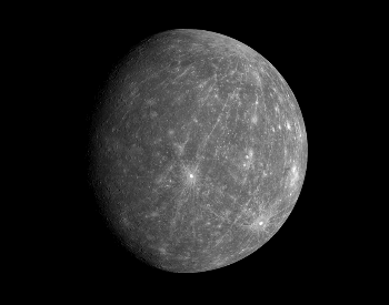 A picture of the planet Mercury taken by the Messenger probe in 2008.