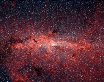An infrared photo of the center of the Milk Way Galaxy by Spitzer Space Telescope