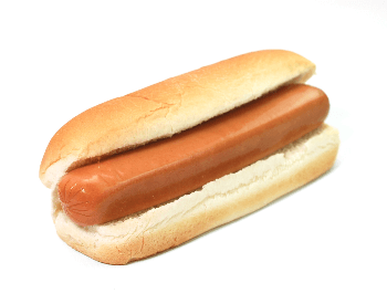 A picture of a plain hot dog