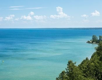 A picture of a scenic view of Lake Huron