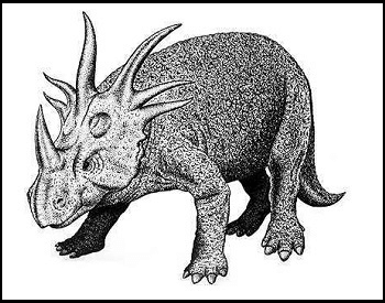 A sketch of a Styracosaurus Albertensis dinosaur.