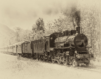 A picture of a sketch of an old steam train