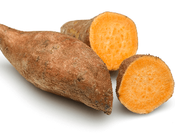 A picture of a sweet potato sliced in half